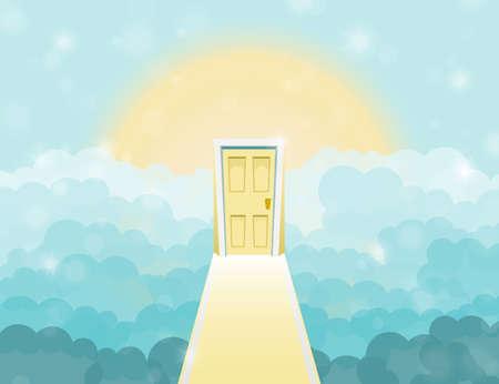 porta del fumetto al cielo in cielo. illustrazione di vettore