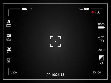 Modern digital video camera focusing screen with settings. Black framed gradient viewfinder camera recording. Vector illustration