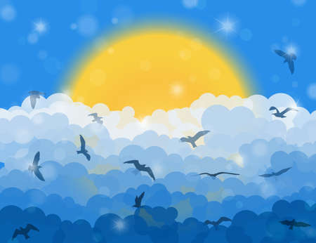eden: Cartoon flying birds in clouds on sun and blue shining sky background. Vector illustration