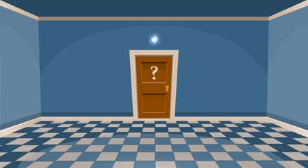 Cartoon secret door concept. Empty room with door in blue style. Vector illustration  イラスト・ベクター素材