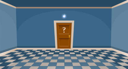 Cartoon secret door concept. Empty room with door in blue style. Vector illustration