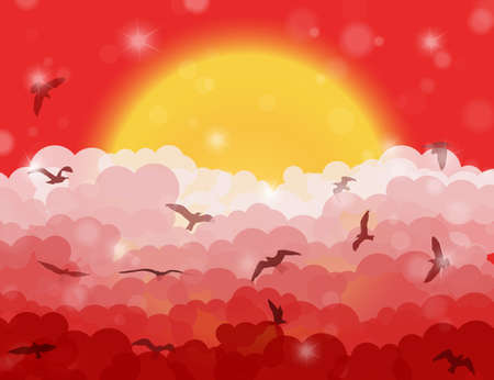 eden: Cartoon flying birds in clouds on sun and red shining sky background. Vector illustration