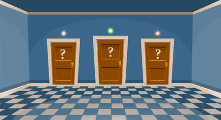 hotel hall: Cartoon choose a door concept. Empty room with three door in blue style. Vector illustration Illustration