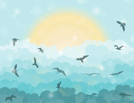 eden: Cartoon flying birds in clouds on sun and cyan shining sky background. Vector illustration