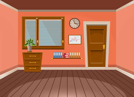 Cartoon flat vector interior office room in peach blossom style. Vector illustration