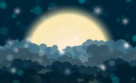 eden: Cartoon cyan night shining cloudy sky with moon. Vector illustration Illustration