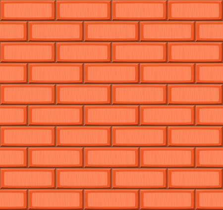 drown: Cartoon hand drown orange realistic seamless brick wall texture. Vector illustration