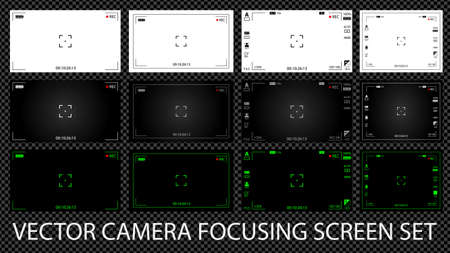 Modern digital video camera focusing screen with settings of 12 in 1 pack. White, black and green viewfinders camera recording. Vector illustration