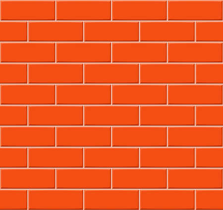 drown: Cartoon hand drown orange seamless brick wall texture. Vector illustration