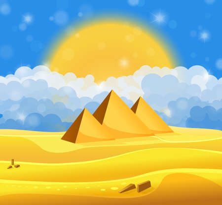 egyptian pyramids: Cartoon Egyptian pyramids in the desert with blue cloudy sky. Vector illustration