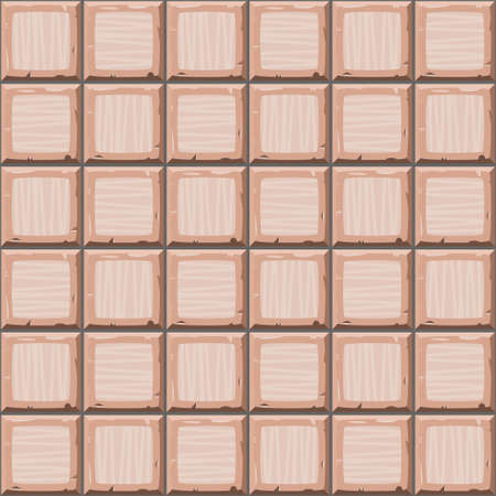 drown: Cartoon hand drown beige seamless old tiles texture. Vector illustration Illustration