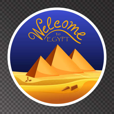 egyptian pyramids: Cartoon Welcome to Egypt concept  on transparent background. Egyptian pyramids in the desert with blue sky. Vector illustration
