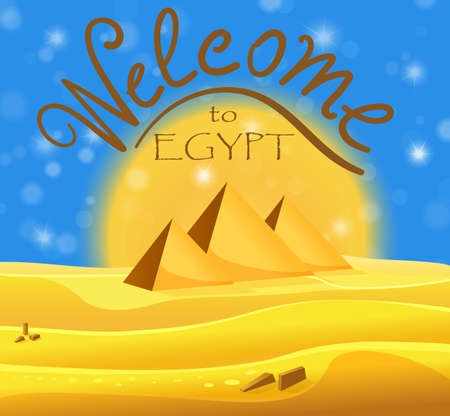 egyptian pyramids: Cartoon Welcome to Egypt concept. Egyptian pyramids in the desert with blue shiny sky. Vector illustration
