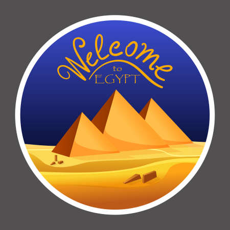 egyptian pyramids: Cartoon Welcome to Egypt concept logo on grey background. Egyptian pyramids in the desert with blue sky. Vector illustration