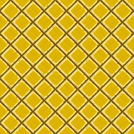 hand drown: Cartoon hand drown golden old diagonal seamless tiles texture. Vector illustration Illustration