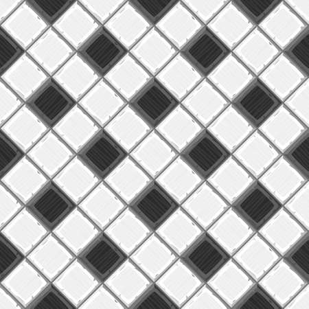 drown: Cartoon hand drown black and white old diagonal seamless tiles texture. Vector illustration
