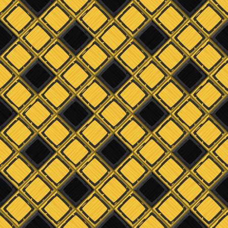 drown: Cartoon hand drown golden and black old diagonal seamless tiles texture. Vector illustration