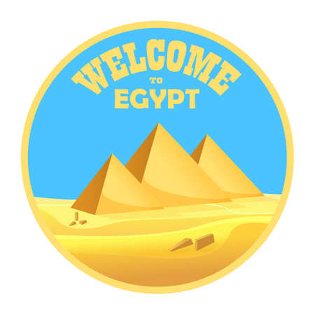 egyptian pyramids: Cartoon Welcome to Egypt concept logo isolated. Egyptian pyramids in the desert with clear sky. Vector illustration