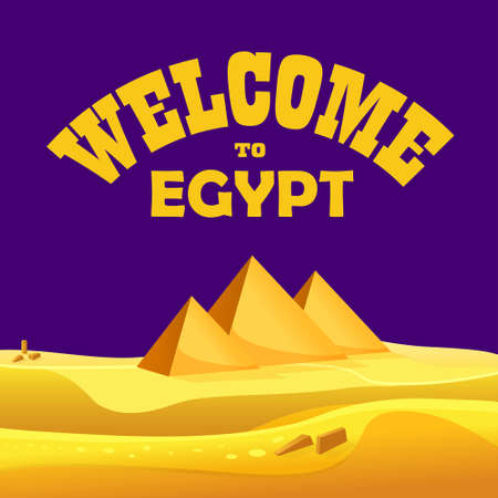 egyptian pyramids: Cartoon Welcome to Egypt concept. Egyptian pyramids in the desert with night sky. Vector illustration