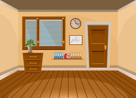 cartoon clock: Cartoon flat vector interior office room in beige style. Vector illustration