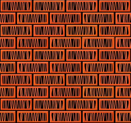 balck: Cartoon hand drown realistic balck and orange seamless brick wall texture. Vector illustration