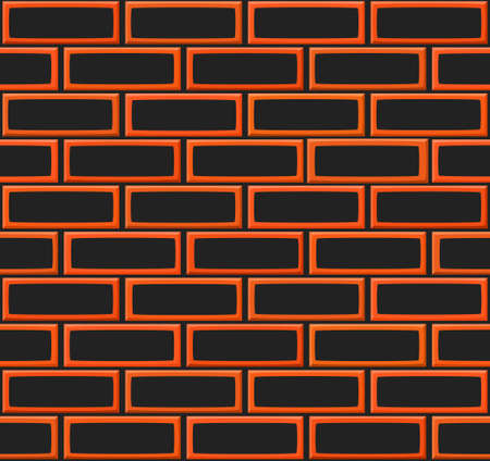drown: Cartoon hand drown realistic balck and orange seamless brick wall texture Stock Photo