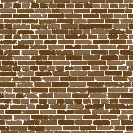 old brick wall: Seamless texture of brown realistic old brick wall with shadows Stock Photo