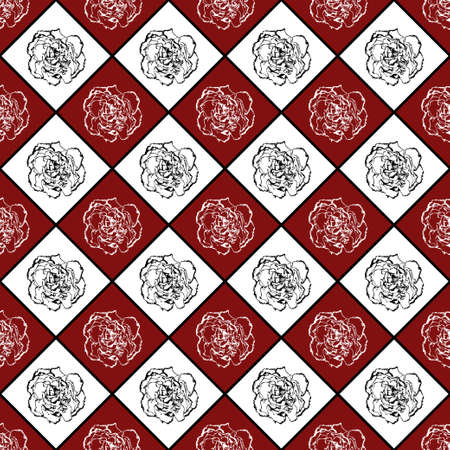 clove: Red and white seamless chess styled vintage texture with clove flower Stock Photo