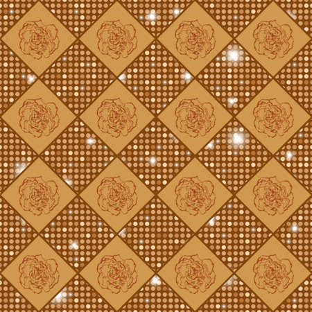 clove: Golden seamless chess styled vintage texture with clove flowers and shining rounds