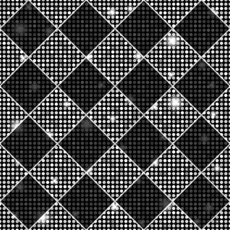 floor plant: Silver and black seamless chess styled vintage texture with shining rounds Stock Photo