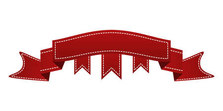 webbing: Embroidered red ribbon isolated on white. Can be used for banner, award, sale, icon, , label etc. Vector illustration