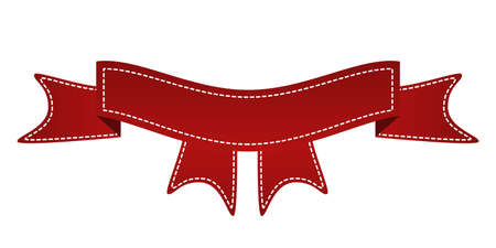 beautify: Embroidered red ribbon isolated on white. Can be used for banner, award, sale, icon, , label etc. Vector illustration