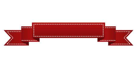 Geborduurde rode lint geïsoleerd op wit. Kan gebruikt worden voor banner, toekenning, verkoop, pictogram, labelen etc. Vector illustratie Stock Illustratie