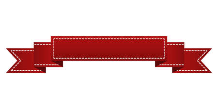 Embroidered red ribbon isolated on white. Can be used for banner, award, sale, icon, , label etc. Vector illustration