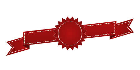 enrich: Embroidered red ribbon isolated on white. Can be used for banner, award, sale, icon, , label etc. Vector illustration