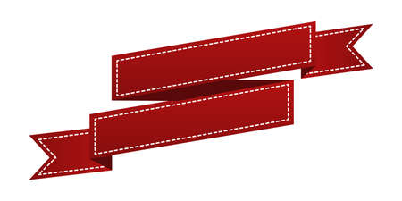 waft: Embroidered red ribbon isolated on white. Can be used for banner, award, sale, icon, , label etc. Vector illustration