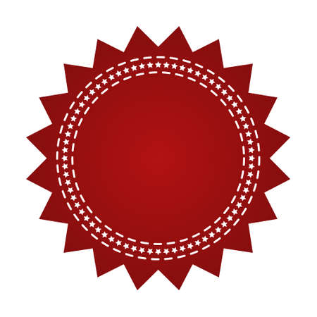 webbing: Embroidered red round ribbon stamp isolated on white. Can be used for banner, award, sale, icon, , label etc. Vector illustration
