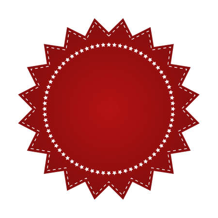beautify: Embroidered red round ribbon stamp isolated on white. Can be used for banner, award, sale, icon, , label etc. Vector illustration