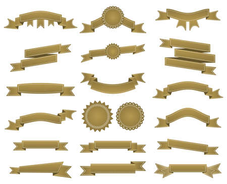 waft: Embroidered bronze ribbons and stumps pack isolated on white. Can be used for banner, award, sale, icon, , label etc. Vector illustration Illustration