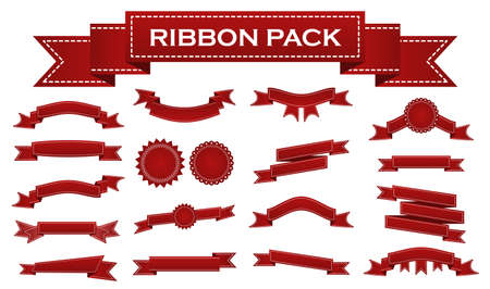 waft: Embroidered red ribbons and stumps pack isolated on white. Can be used for banner, award, sale, icon, , label etc. Vector illustration