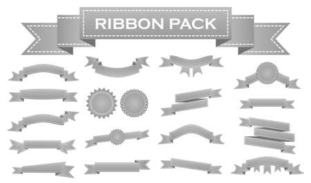 enrich: Embroidered silver ribbons and stumps pack isolated on white. Can be used for banner, award, sale, icon, , label etc. Vector illustration