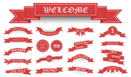 stumps: Embroidered soft red vintage ribbons and stumps with business text and shadows isolated on white. Can be used for banner, award, sale, icon, logo, label etc. Vector illustration Illustration
