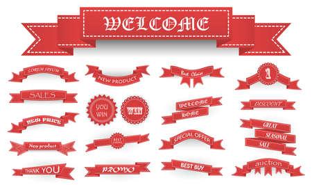 Ricamati nastri d'epoca rossi morbidi e ceppi con testo di business e ombre isolato su bianco. Può essere usato per la bandiera, premio, vendita, icona, logo, etichetta ecc illustrazione vettoriale Logo