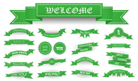 auction win: Embroidered soft green vintage ribbons and stumps with business text and shadows isolated on white. Can be used for banner, award, sale, icon, logo, label etc. Vector illustration