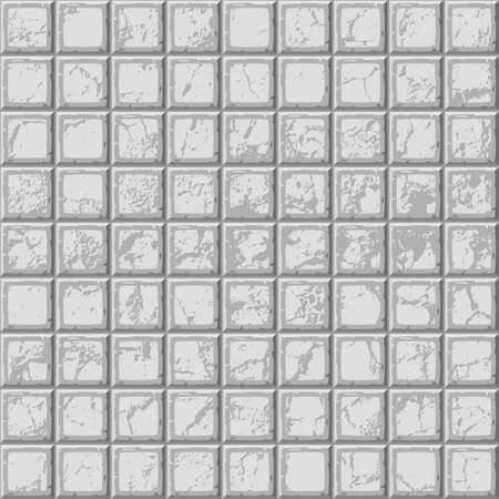 drown: Cartoon hand drown grey seamless decorative old scratched tiles texture. Vector illustration Illustration