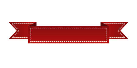 Embroidered red ribbon isolated on white. Can be used for banner, award, sale, icon, logo, label etc. Vector illustration