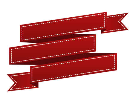 waft: Embroidered red ribbon isolated on white. Can be used for banner, award, sale, icon, logo, label etc. Vector illustration