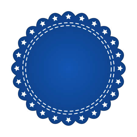 webbing: Embroidered blue round ribbon stamp isolated on white. Can be used for banner, award, sale, icon, logo, label etc. Vector illustration Illustration
