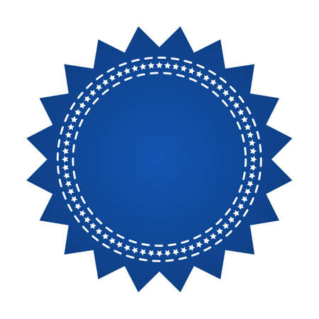 Embroidered blue round ribbon stamp isolated on white. Can be used for banner, award, sale, icon, logo, label etc. Vector illustration Illustration