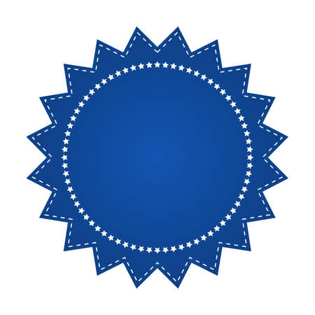 beautify: Embroidered blue round ribbon stamp isolated on white. Can be used for banner, award, sale, icon, logo, label etc. Vector illustration Illustration